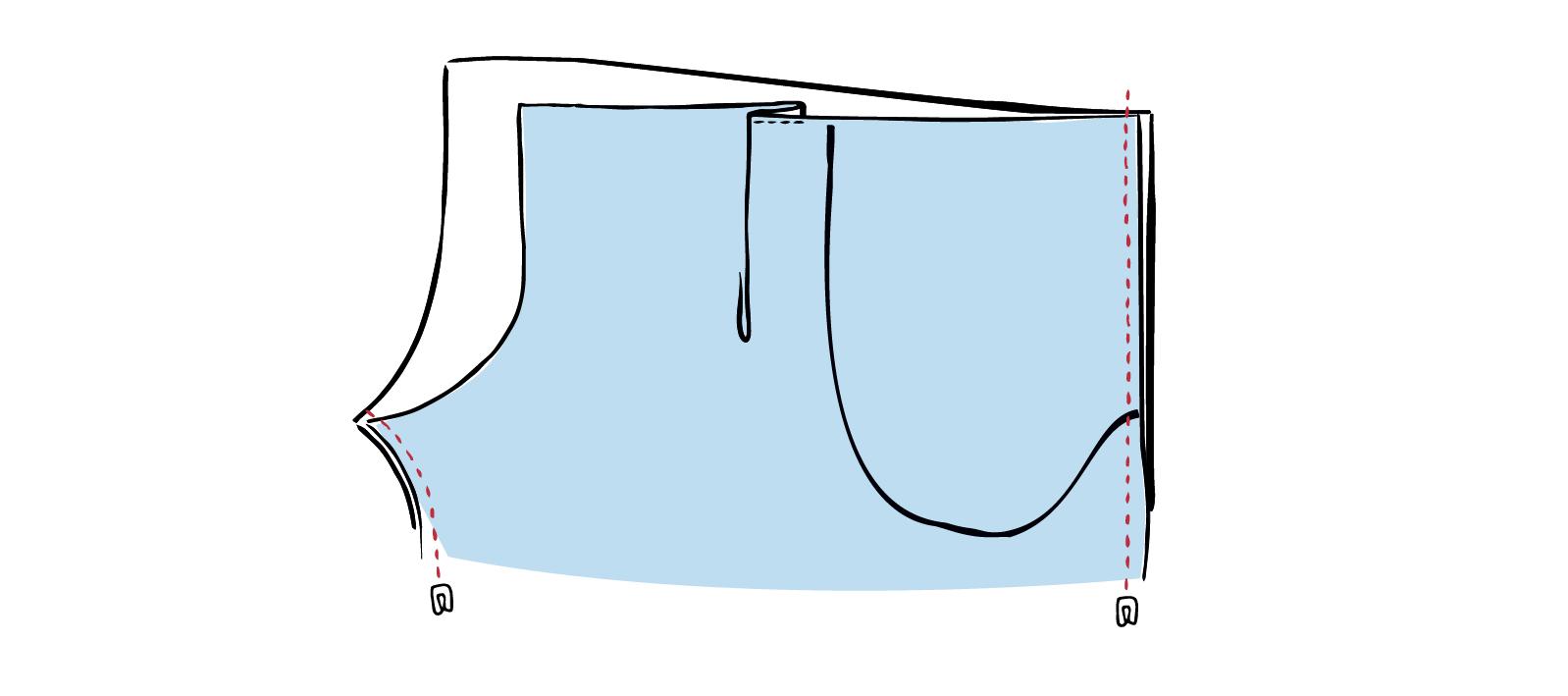 Vorder- und Rückteil der Hose werden jeweils als Röhre zusammengenäht