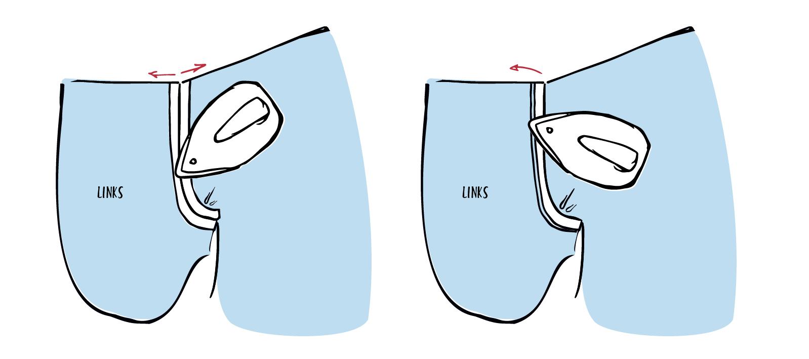 Die Nahtzugabe wird am Tascheneingriff in Richtung Taschenbeutel gebügelt
