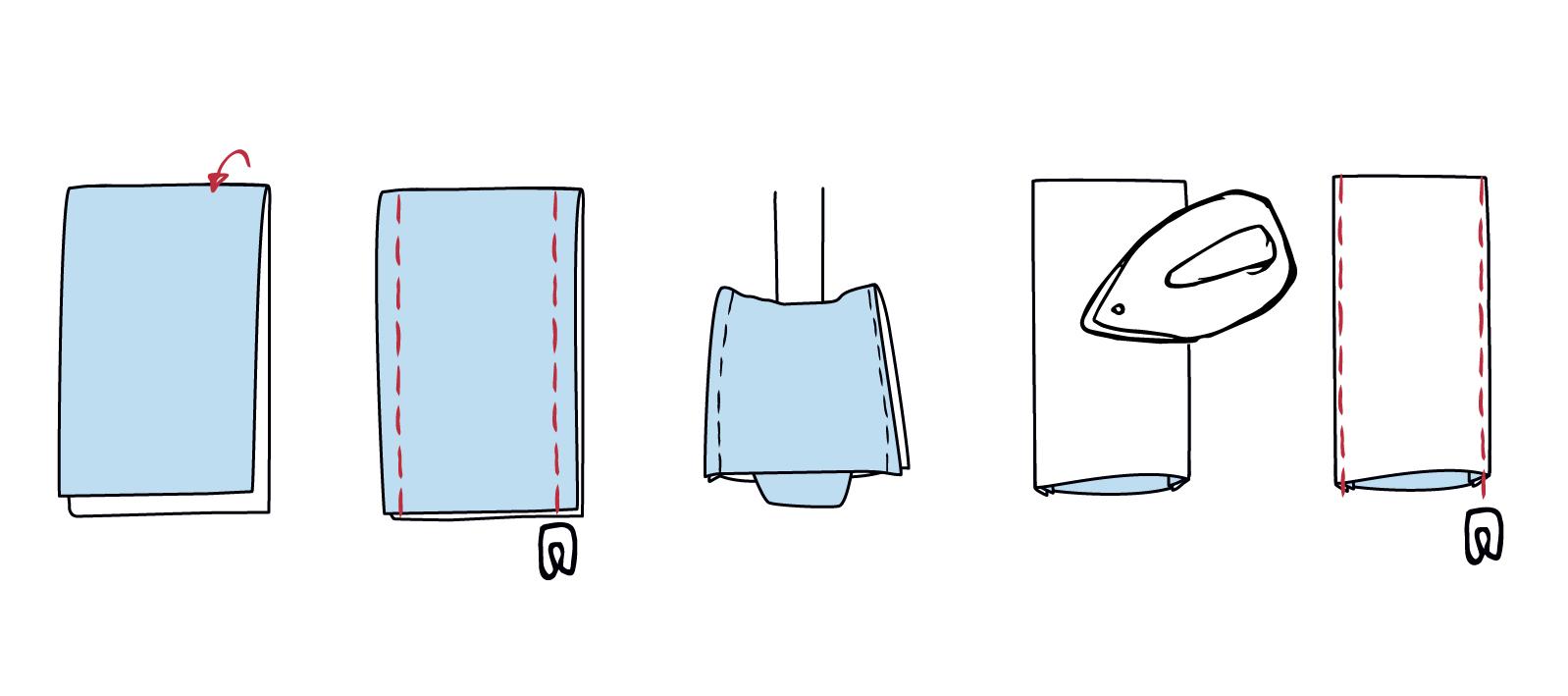 Gürtelschlaufen klappen, der Länge nach zusammennähen, stülpen und von Rechts knappkantig absteppen