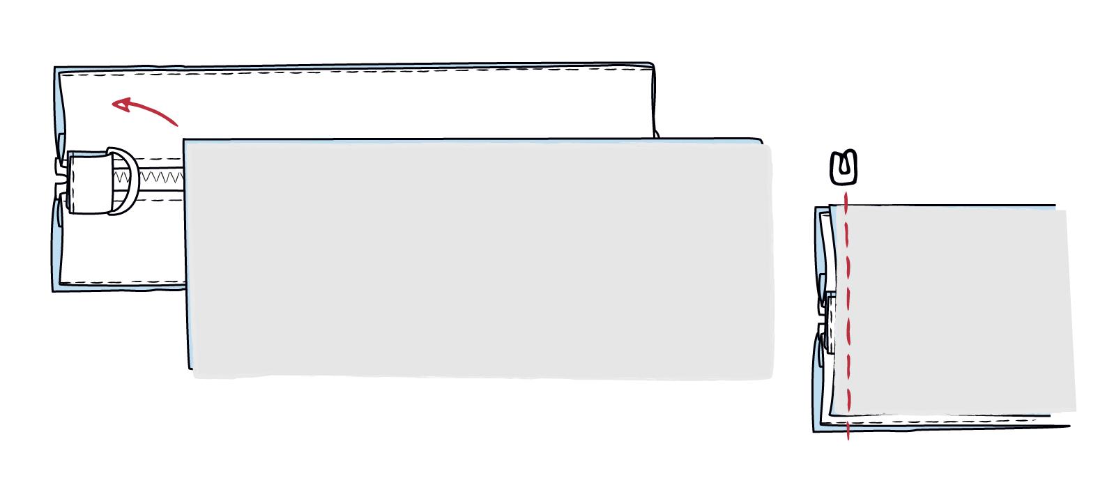 Taschenboden an kurze Seiten nähen
