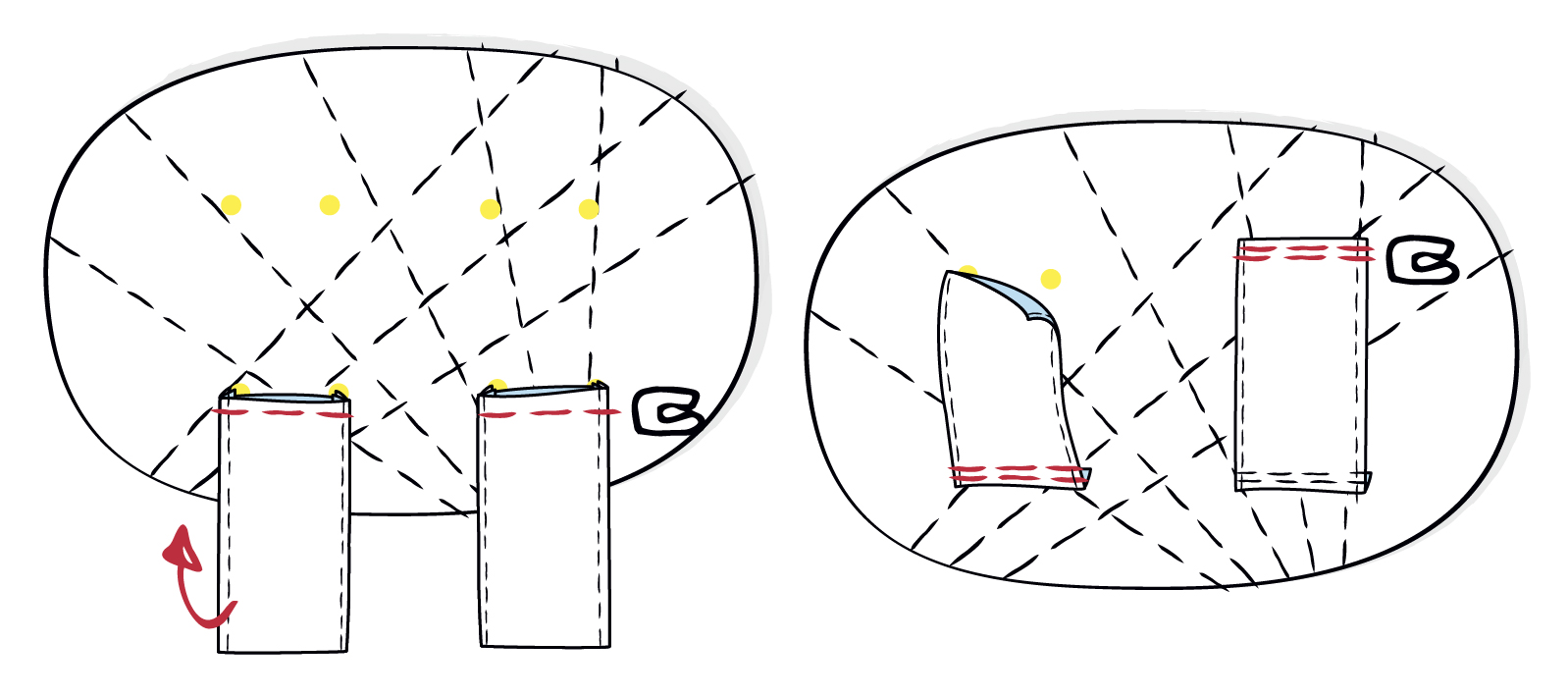 Gürtelschlaufen auf dem Rückteil positionieren und mit einem Riegel aufsteppen