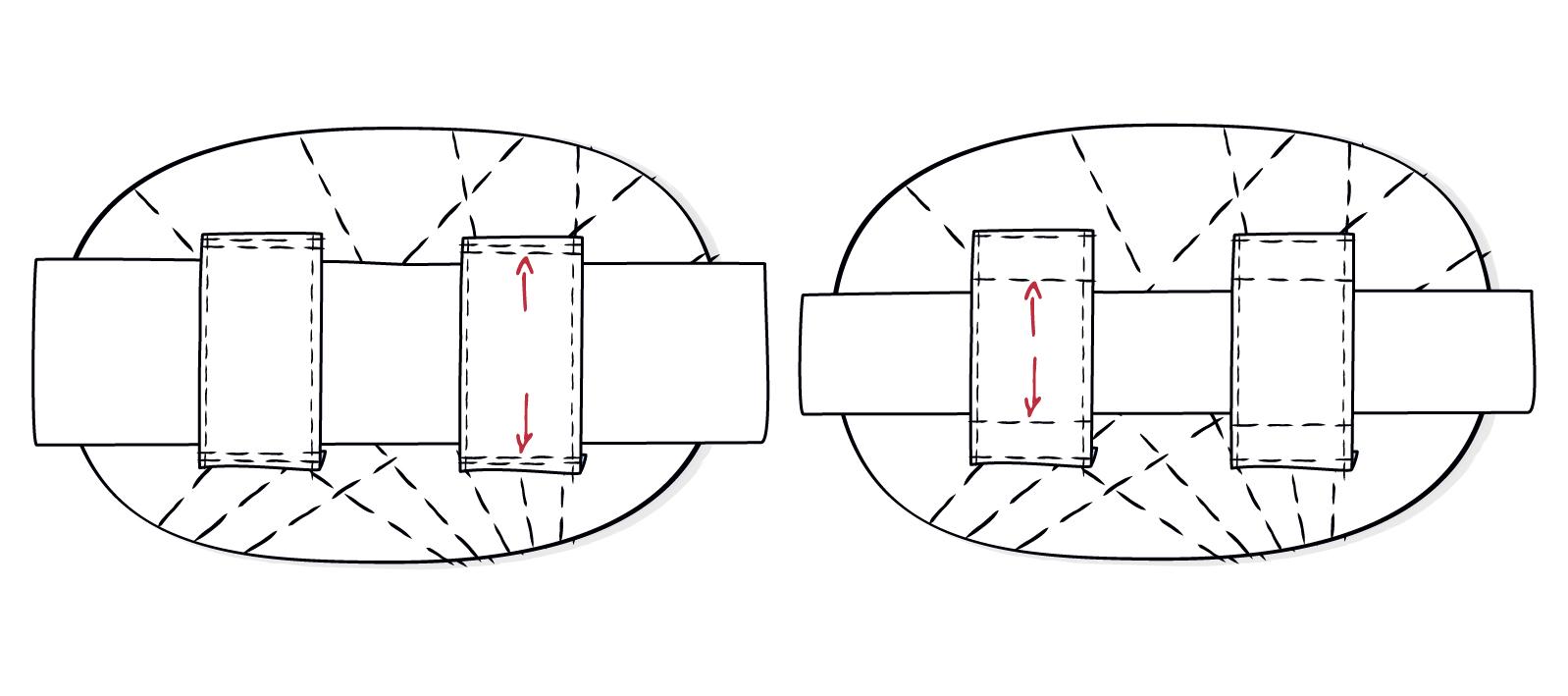 Mit dem zweiten Riegel kann die Gürtelschlaufe auf die Gürtelbreite angepasst werden