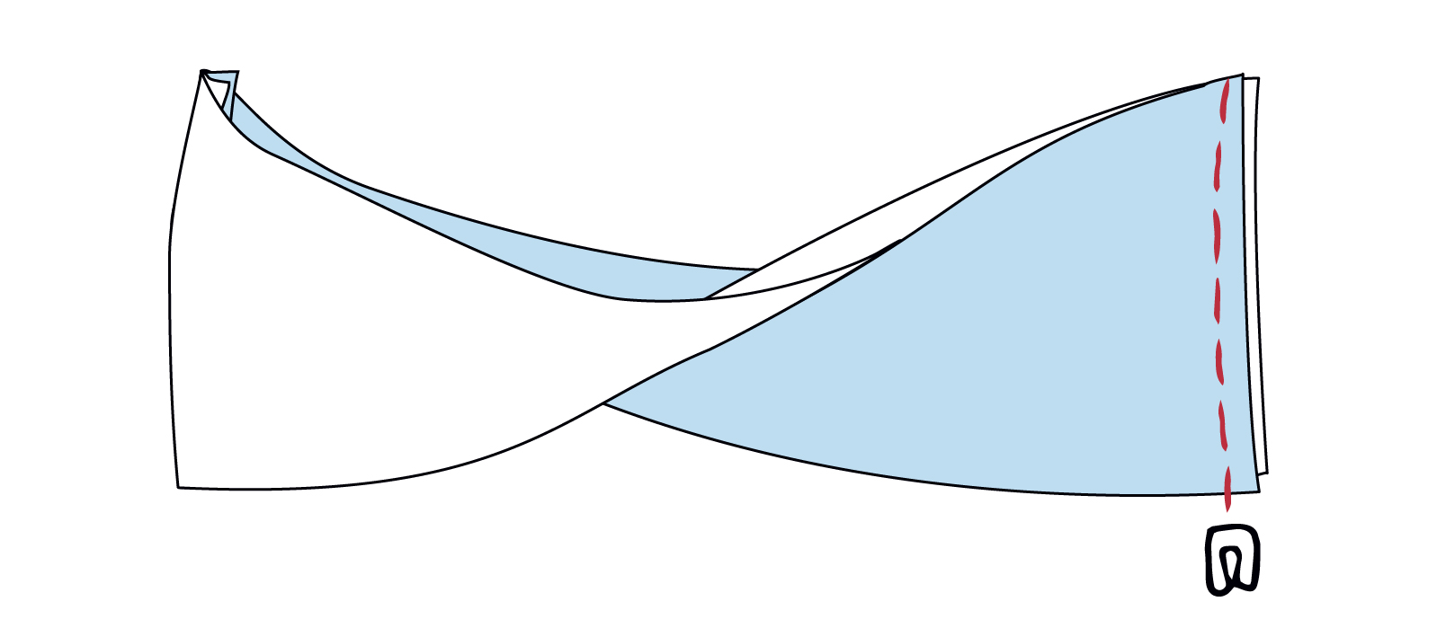 Nahtende herausstülpen und die Stofflagen zusammennähen