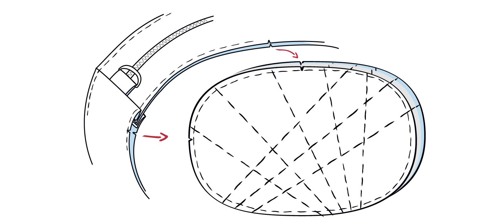 Seitenteil rechts auf rechts an den Knipsen des Vorderteils feststecken und rundherum annähen