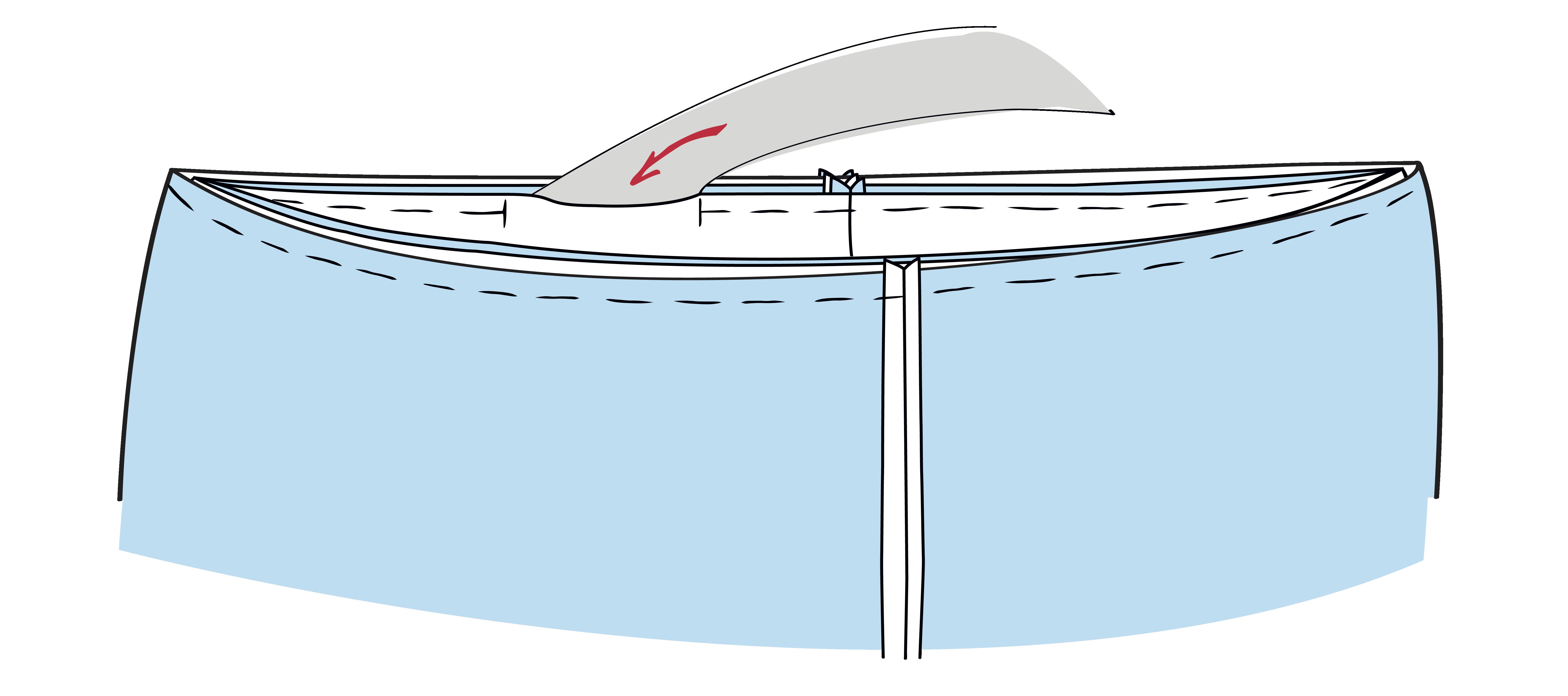Das Gummiband wird mit Hilfe einer Sicherheitsnadel durch den Bund geschoben.