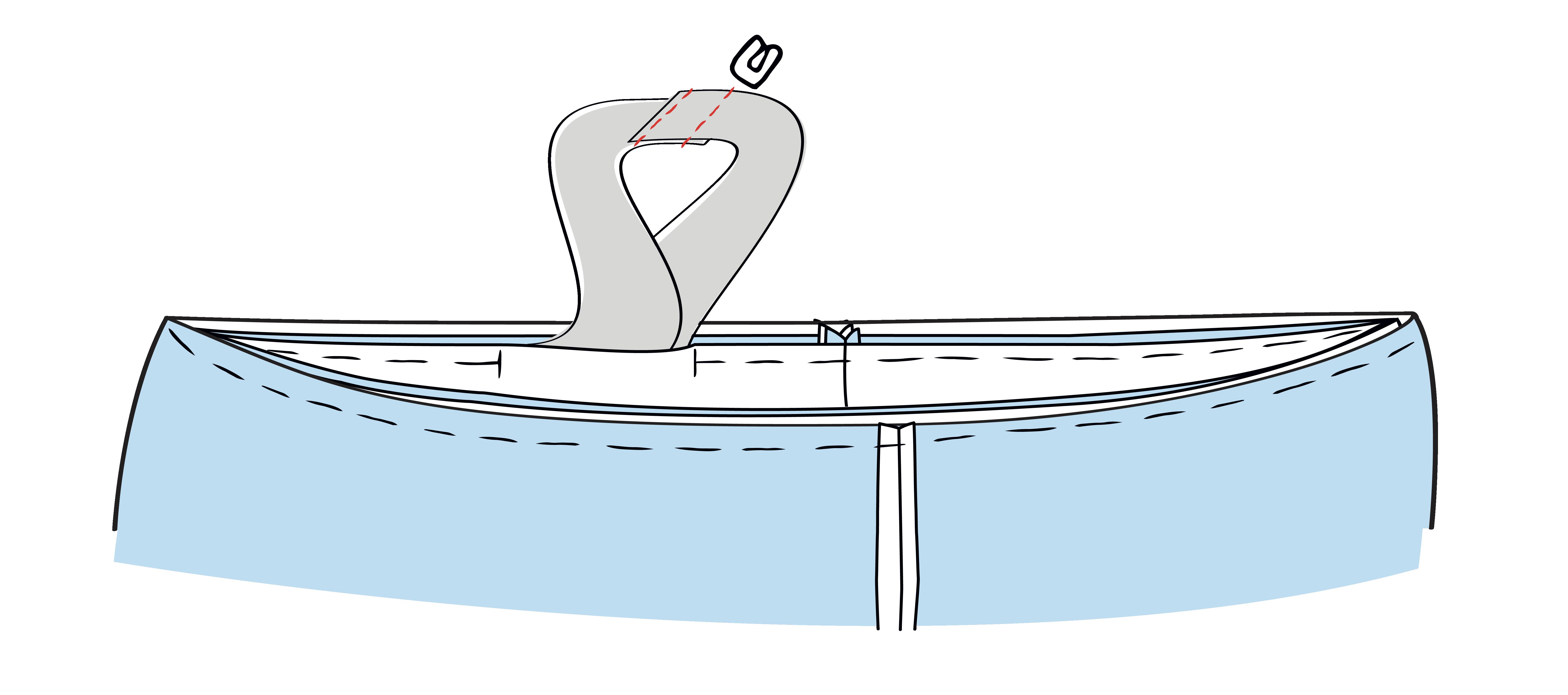 Die Gummiband-Enden werden 2 cm überlappend flach aufeinander gelegt und zusammengenäht
