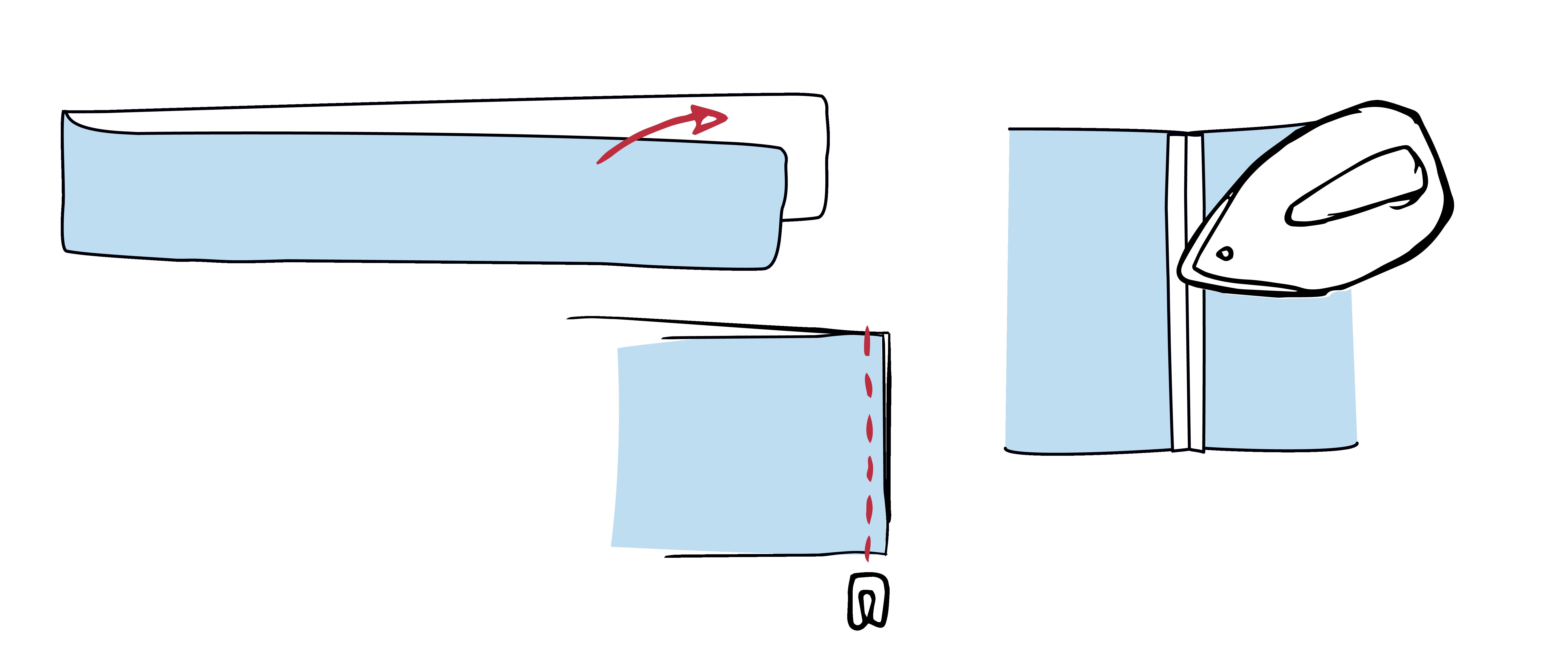 Der Bund wird an den kurzen Seiten zusammengenäht und zu einem Rind geschlossen