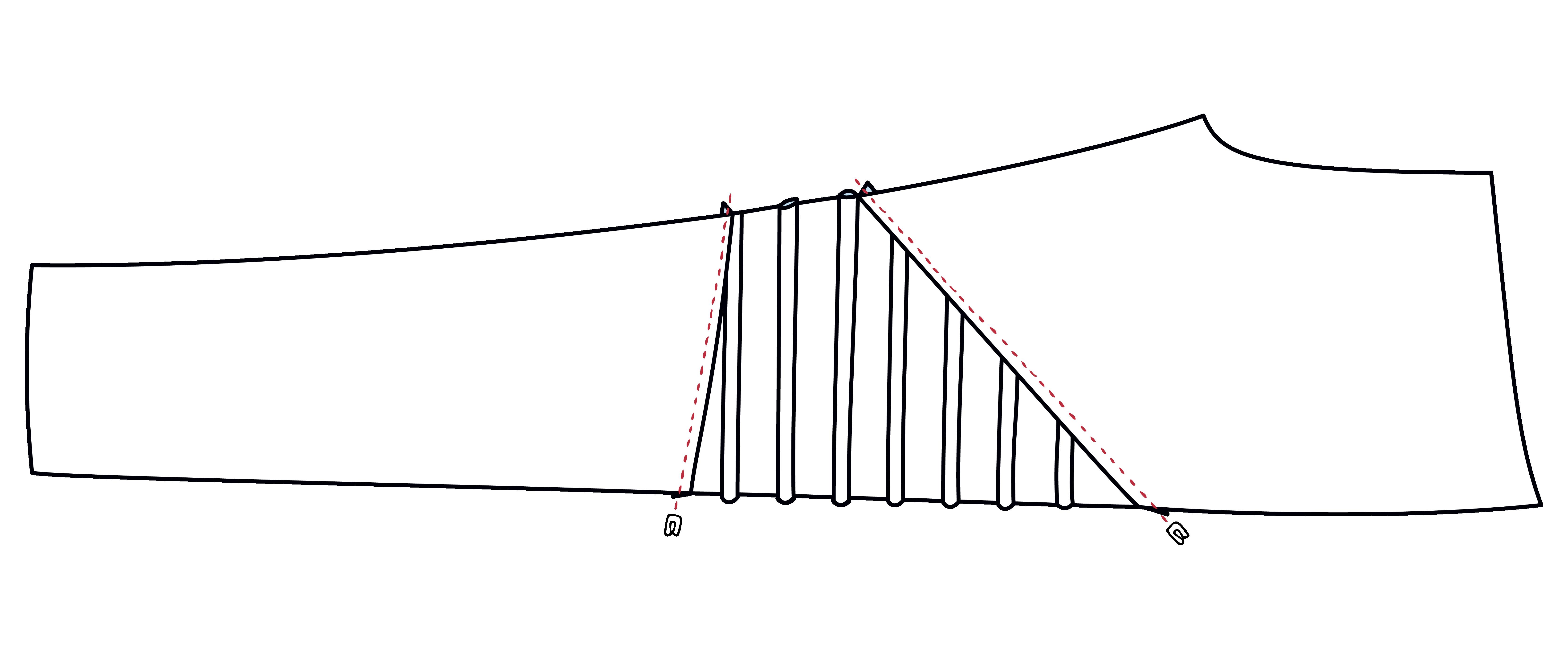 Die Nahtzugabe am Bieseneinsatz wird jeweils nach oben und unten gebügelt und von Rechts flachgesteppt