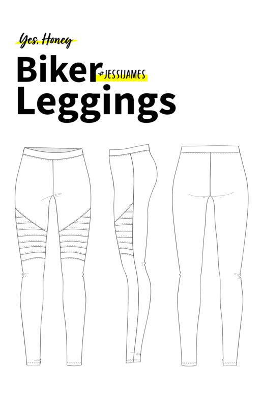 Schnittmuster Biker Leggings #jessijames als technische Zeichnung