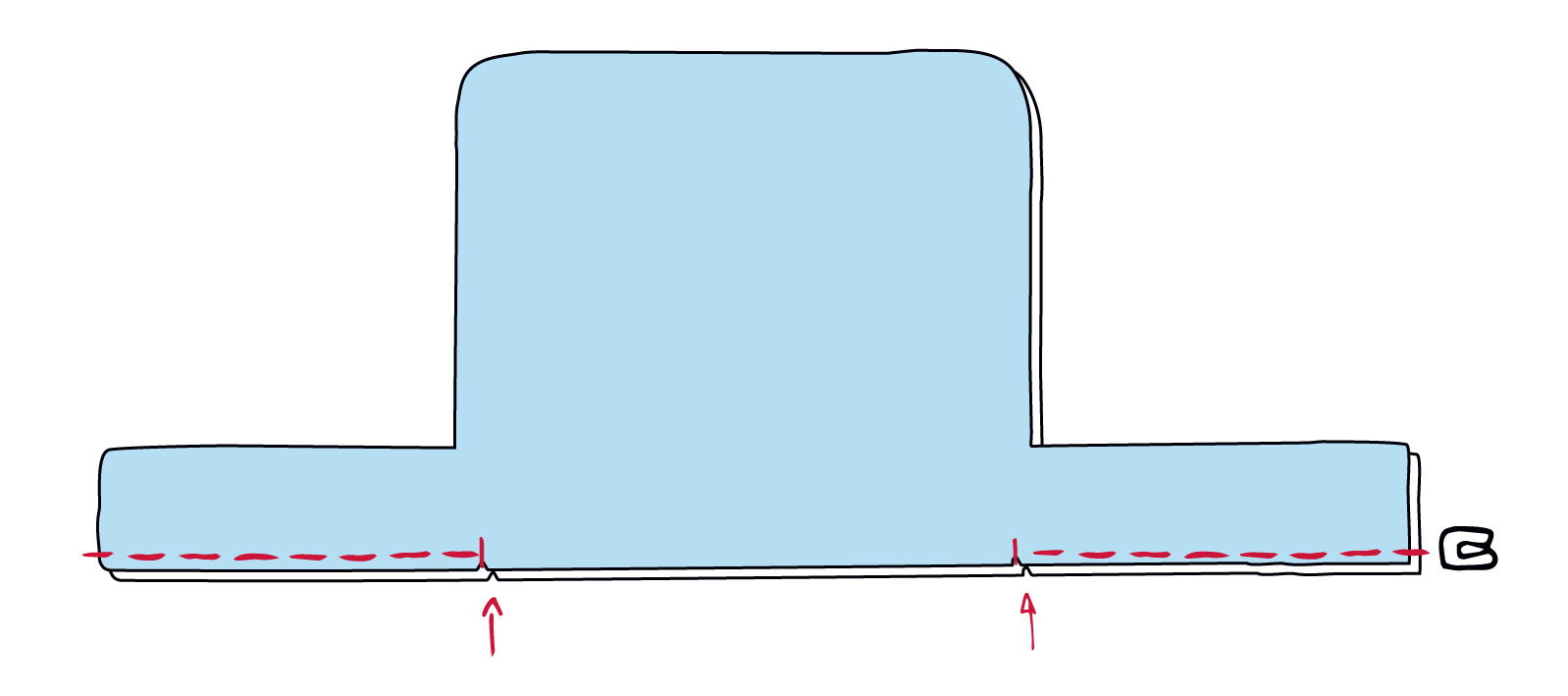 Den Futterboden zusammennähen und die Wendeöffnung offen lassen