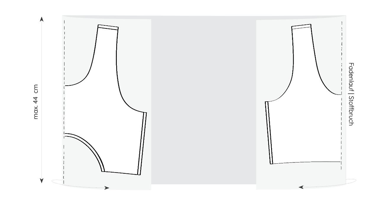 Vorder- und Rückteil werden jeweils im Bruch zugeschnitten